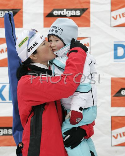 Andreja Koblar PhotoSI sport photo agency Andreja Koblar of Slovenia with her son