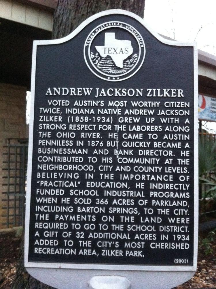 Andrew Jackson Zilker Andrew Jackson Zilker marker photo