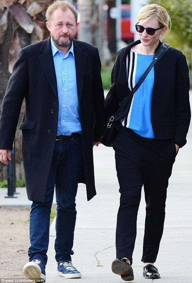 Andrew Upton Cate Blanchett colour coordinates with husband Andrew Upton after