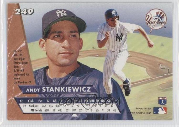 Andy Stankiewicz 1993 Fleer Ultra 249 Andy Stankiewicz COMC Card