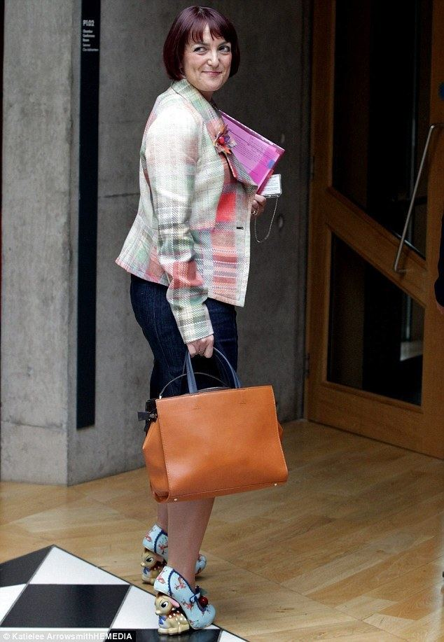 Angela Constance Angela Constance wears quirky pumps with cartoon Bambi