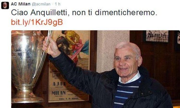 Angelo Anquilletti Serie A morto Angelo Anquilletti Il cordoglio del Milan