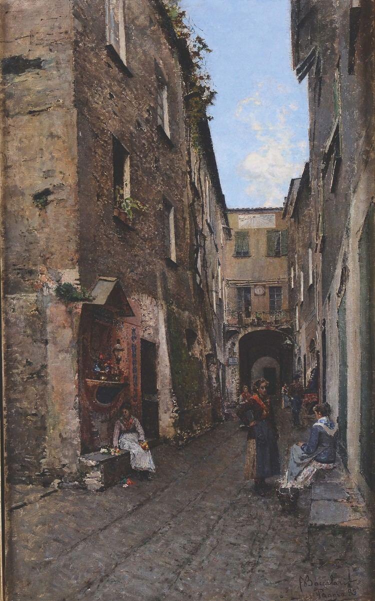 Angelo Baccalario Angelo Baccalario 1852 Vicolo con figure 19th and 20th