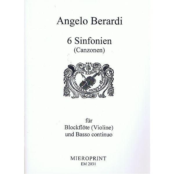 Angelo Berardi Angelo Berardi 6 Sinfonien Canzonen for Recorder or Violin and