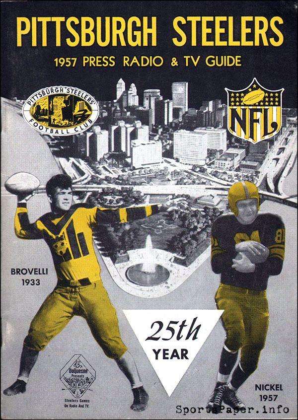 Angelo Brovelli NFL Media Guide Pittsburgh Steelers 1957 Angelo Brovelli HB 1933