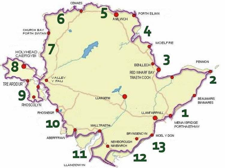 Anglesey Coastal Path Anglesey Coastal Path route with Anglesey Walking Holidays split