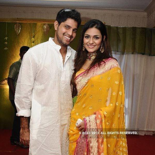 Anirudha Srikkanth Cricketer Anirudha Srikkanth and Arthi pose together