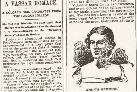 Anita Florence Hemmings Anita Florence Hemmings Passing For White At Vassar LISNews