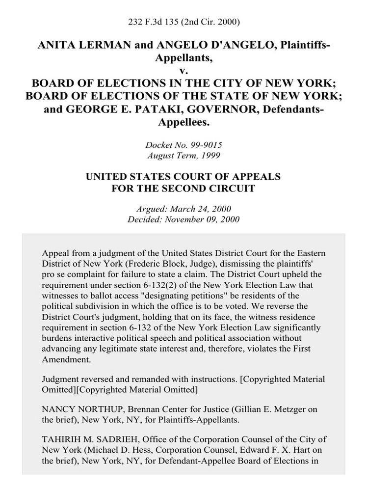 Anita Lerman Anita Lerman and Angelo DAngelo v Board of Elections in the City