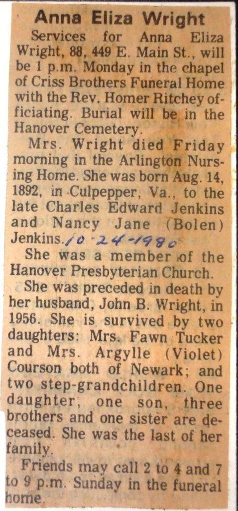 Anna Eliza Jenkins Anna Eliza Jenkins Wright 1892 1980 Find A Grave Memorial