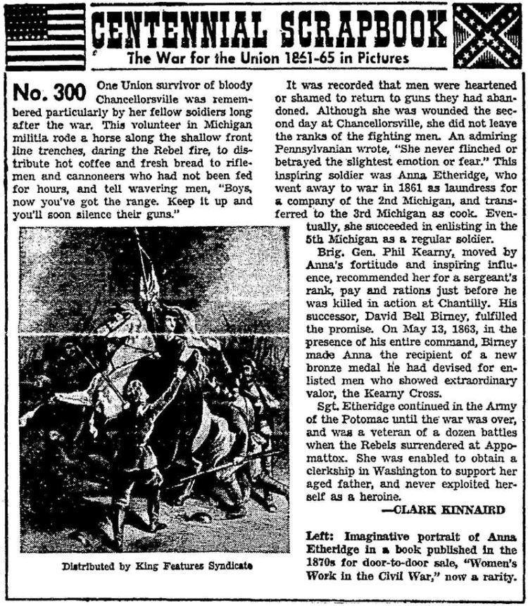 Anna Etheridge Anna Etheridge A Civil War Heroine YesterYear Once More