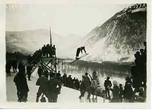 Annar Petersen France Chamonix Annar Petersen Au Saut A Ski Vintage Print Tirage