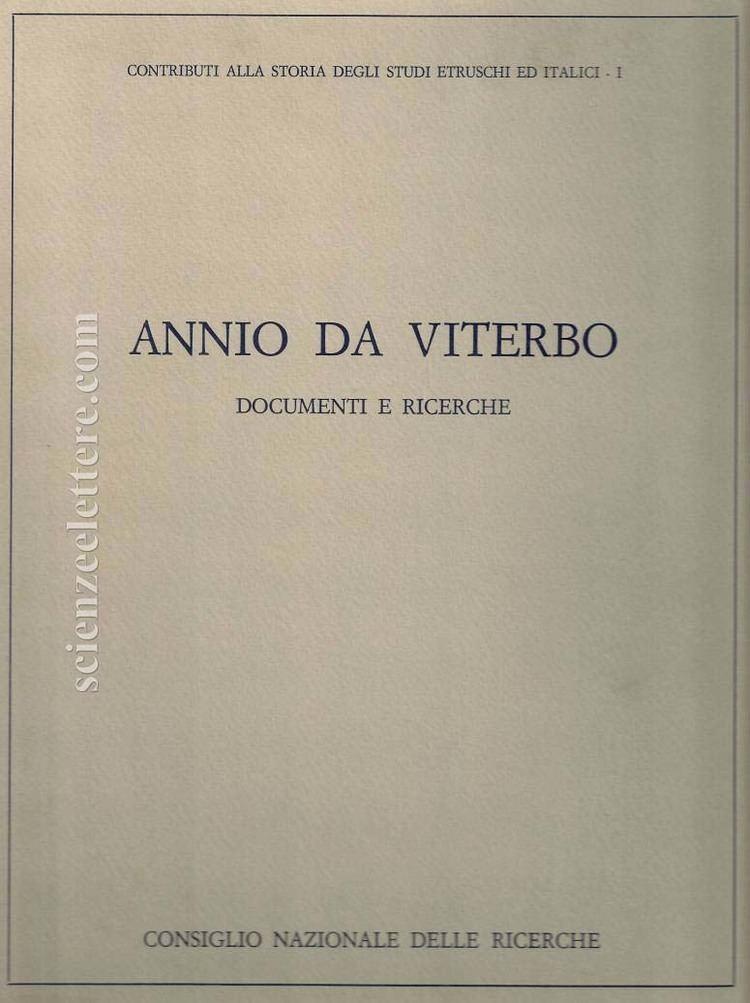 Annio da Viterbo Annio da Viterbo Scienze e Lettere Casa Editrice Rome