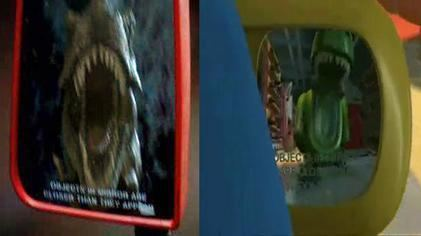 Anonymous Rex (film) movie scenes Screenshot of a scene in Jurassic Park 1993 featuring a Tyrannosaurus rex left parodied by Rex the Dinosaur in Toy Story 2 1999
