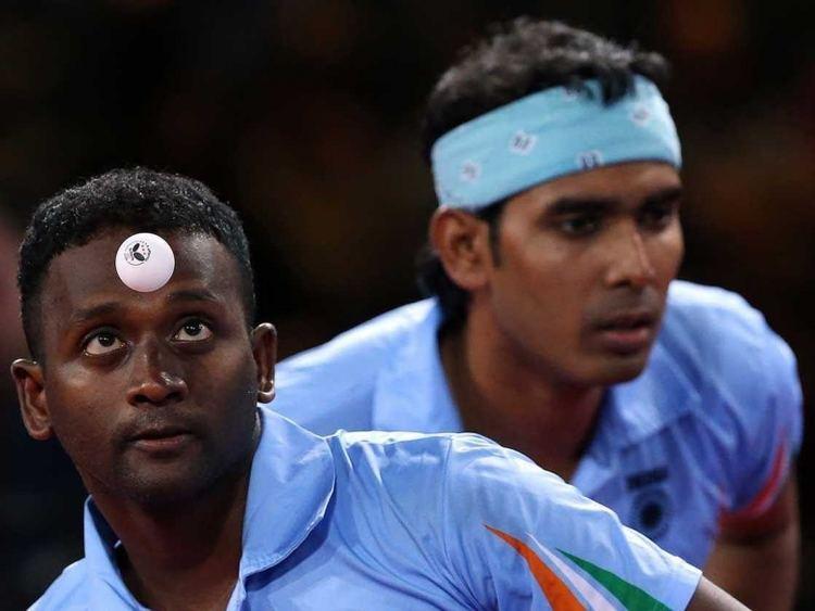 Anthony Amalraj CWG 2014 Sharath KamalAnthony Amalraj Eye Table Tennis
