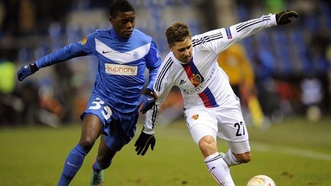 Anthony Limbombe Anthony Limbombe KRC Genk amp Markus Steinhfer FC Basel