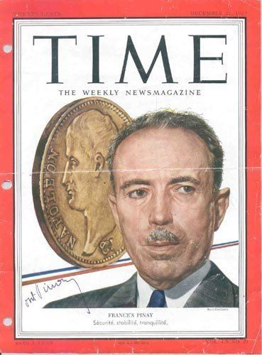 Antoine Pinay 775 ANTOINE PINAY TIME MAGAZINE COVER SIGNED FRANCE