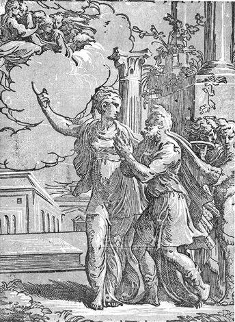 Antonio da Trento Augustus und die tiburtinische Sibylle after Parmigianino von