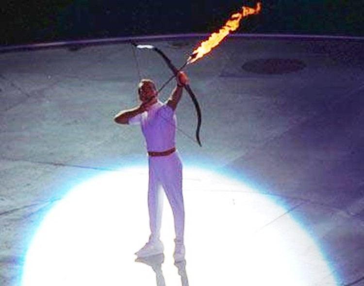Antonio Rebollo The Olympic flame cauldron was lit by the Paralympic archer Antonio