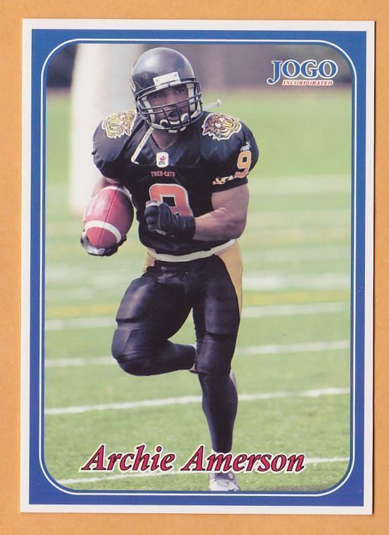 Archie Amerson Archie Amerson CFL card 2003 Jogo 107 Hamilton TigerCats Northern