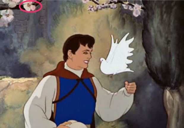 Arent Men Beasts! movie scenes Two Hidden Mickeys appear early in the film when Snow White finishes scrubbing the castle s steps and when the Prince serenades Snow White under her