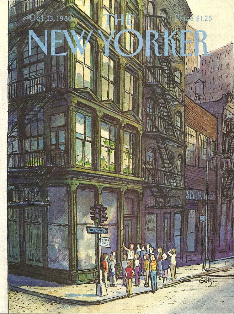 Arthur Getz New Yorker cover by Arthur Getz has group on by