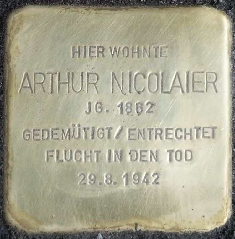 Arthur Nicolaier Stolpersteine Grainauer Strae 2 Berlinde
