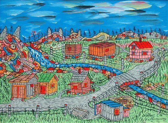Arthur Villeneuve Wood Point Village by Arthur Villeneuve Red Kettle Art
