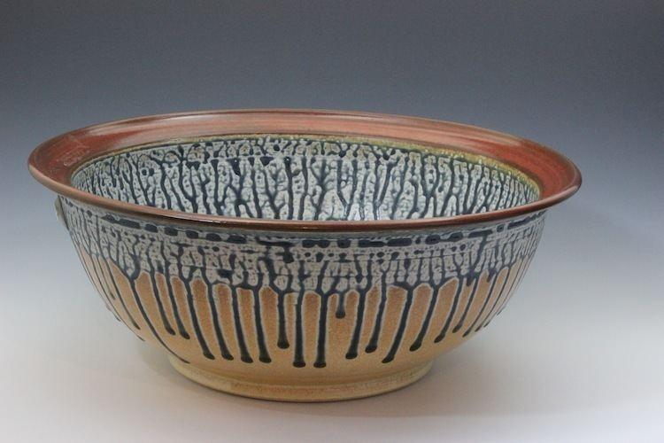 Ash glaze Large Bowl Ash Glaze Blue
