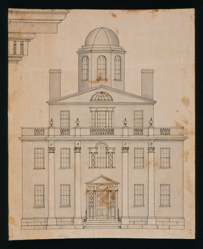 Asher Benjamin Front elevation and detail drawing of an unidentified building