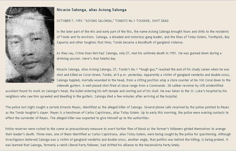 Asiong Salonga Manila Kingpin Nicasio Asiong Salonga AS TOLD BY PONG