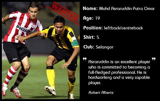 Asraruddin Putra Omar Malaysian defender Asraruddin is wanted What a Goal