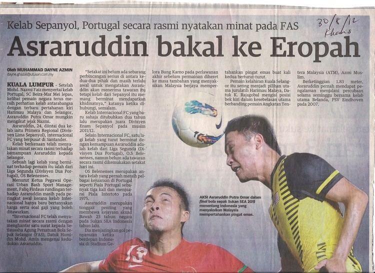 Asraruddin Putra Omar El Internacional FC interesado en el jugador internacional