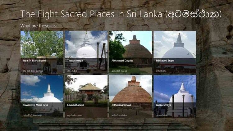 Atamasthana Eight Sacred Places in Sri Lanka for Windows 8 and 81