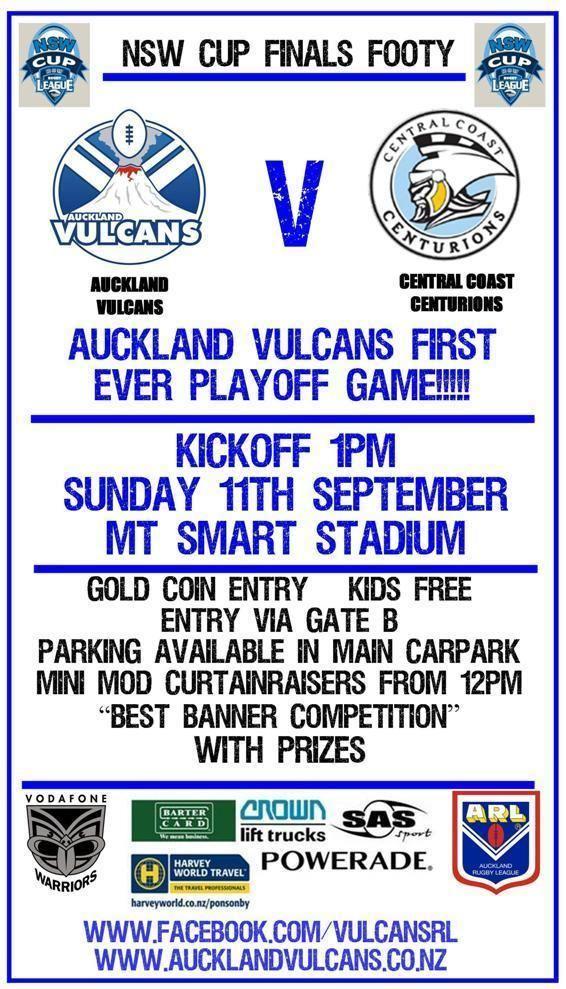Auckland Vulcans Press Release Auckland Vulcans v Central Coast Centurions Week