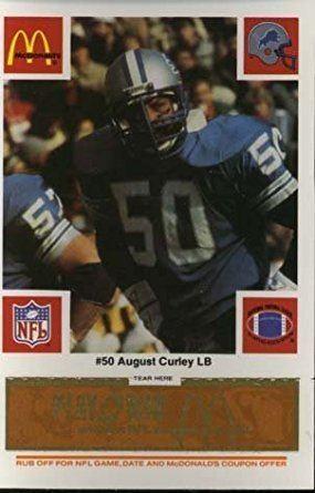 August Curley Amazoncom August Curley Detroit Lions 1986 McDonalds NFL Play