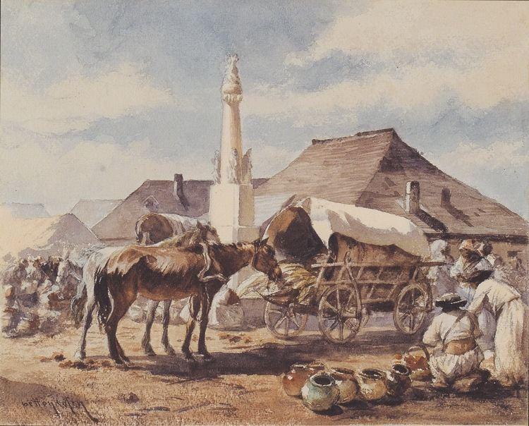 August von Pettenkofen FileAugust von Pettenkofen Marktszene mit Pferdefuhrwerk ca1855