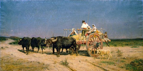 Aurelio Tiratelli Wagon with Buffalo by the Beach Aurelio Tiratelli as art print or