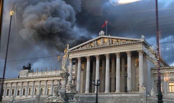 Austrian Parliament Austrian Parliament fire thick smoke engulfs Vienna for miles