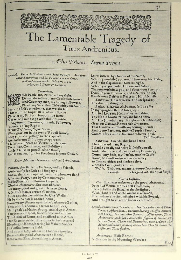 Authorship of Titus Andronicus