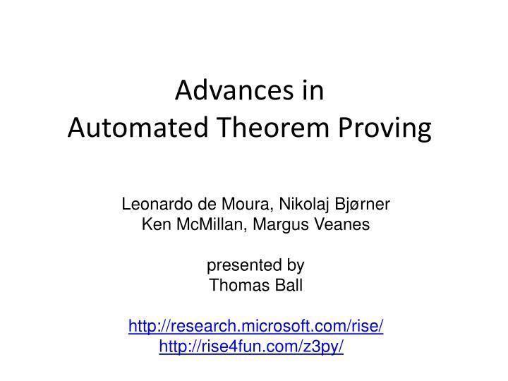Automated theorem proving image1slideservecom2525777advancesinautomate