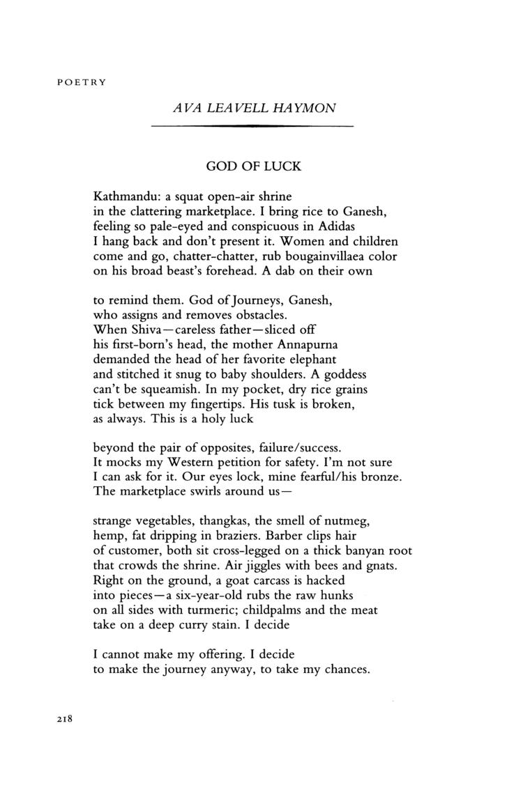 Ava Leavell Haymon God of Luck by Ava Leavell Haymon Poetry Magazine