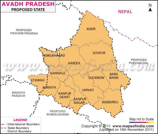 Awadh Avadh Pradesh Map