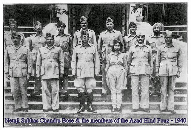 Azad Hind Netaji Subhas Chandra Bose and Members of the Azad Hind Fauj