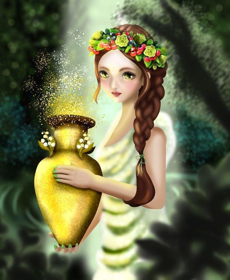 Azura (religious figure) holding a golden pot