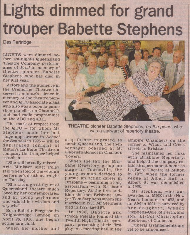 Babette Stephens La Boite A Profile of Babette Stephens