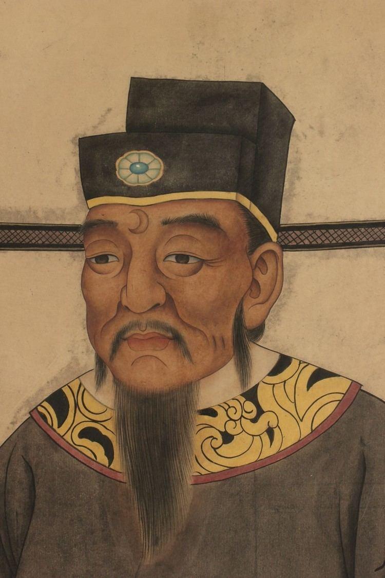 Bao Zheng L HUANCHENG A FRAMED PAINTING ON SILK 39BAO ZHENG39 PORTRAIT