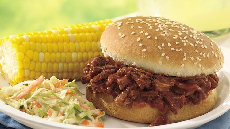 Barbecue sandwich SlowCooker Beef and Pork Barbecue Sandwiches recipe from Betty Crocker