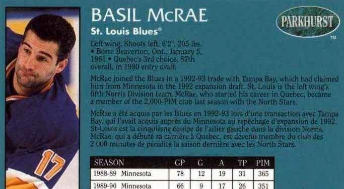 Basil McRae 199394 Basil McRae St Louis Blues Game Worn Jersey