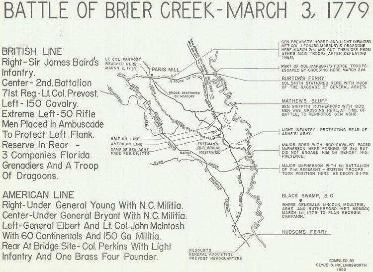 Battle of Brier Creek FileClyde d hollingsworth 1953 map battle of brier creekcropped